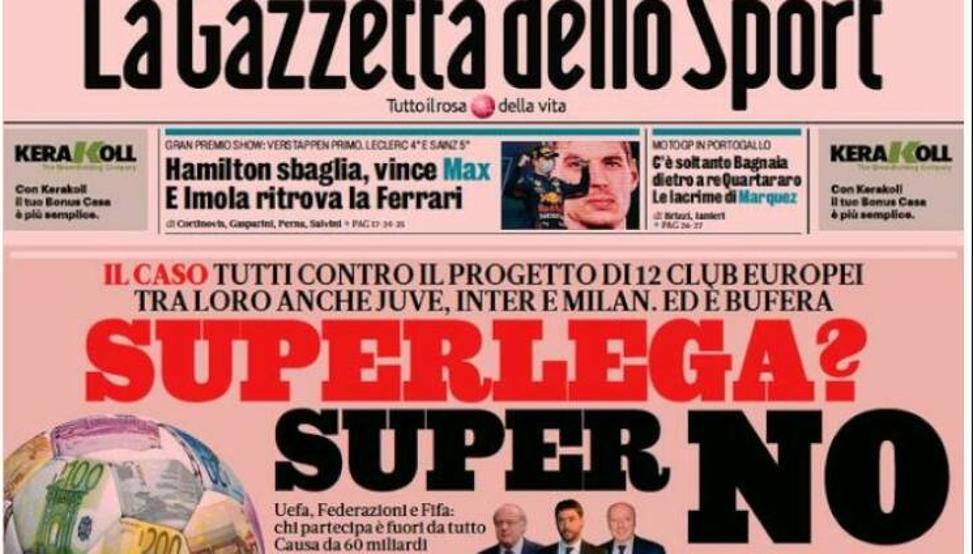 "La prensa italiana, furiosa contra la Superliga: ""Estáis matando al fútbol"""